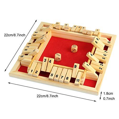 Juego de tablero de madera con 2 dados Shut The Box juego de dados clásico de 4 lados tablero de madera juguete de mesa para niños adultos números de aprendizaje estrategia riesgo 2–4 jugadores