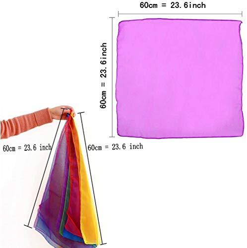 JZK 20 Piezas pañuelos de Malabares Bailar pequeño pañuelo Seda Bufandas de Danza para niños Adulto Chicas Actividades de Fiesta decoración y Juegos Accesorios