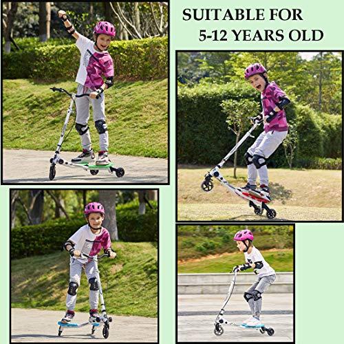 keland Patinete Niños Patinete de 3 Ruedas Plegable con Manillar Ajustables 75-85cm para Niños y Niñas, Freestyle Stunt Scooter Y Fliker Scooter para niños