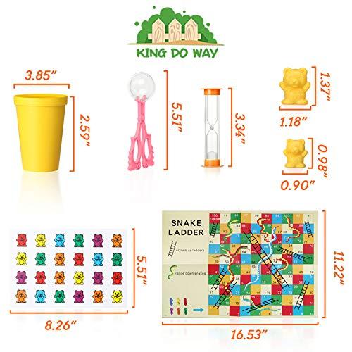 king do way Juego para Contar, 111 Unidades, diseño de Ositos de Arco Iris, Juguete Educativo con Vasos de clasificación a Juego, Dados y Pinzas, Montessori Rainbow a Juego de Dados y matemática