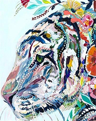 Kit de pintura por números para adultos y niños principiantes, 16 x 20 pulgadas, tigre pintado (marco)