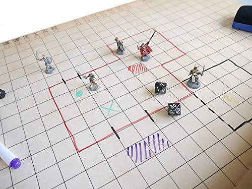 KLIBEN Tablero de rol Reutilizable - Tapete para Batallas y Juegos de Mesa - Dungeons and Dragons, Miniaturas