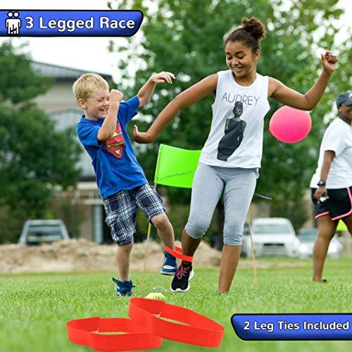 KreativeKraft Juguetes de Jardin para Niños Carrera de Sacos Huevo y Cuchara Carreras 3 Patas Juegos de Fiesta para Niño Niña