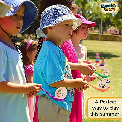 KreativeKraft Juguetes para Niños, Juego del Huevo y La Cuchara, Juegos Al Aire Libre para Fiesta Cumpleaños Infantil, Juegos para Jardin Fiestas Vacaciones, Regalos para Niños y Adultos