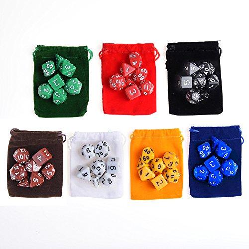 KUUQA 7 x 7 (49 Piezas) Dados poliédricos 7 Color Dados del Juego