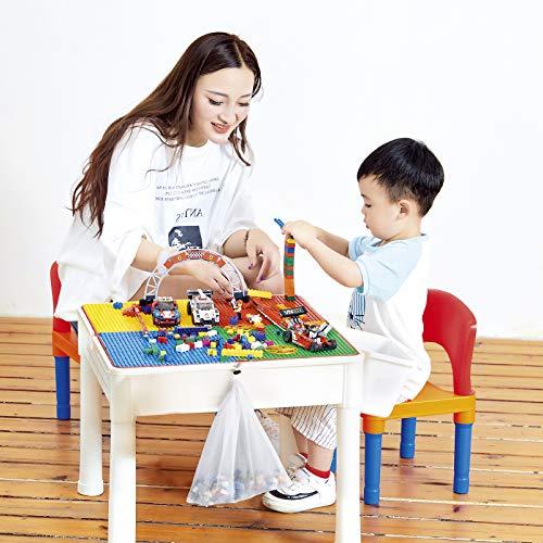 LADUO Juegos de Mesa y sillas niños, 200 Piezas Mini de Bloques de construcción de Juguete, Mesa de Juego/Mesa de Aprendizaje 5 en 1 Incluye 2 sillas y Mesa de Bloques de construcción