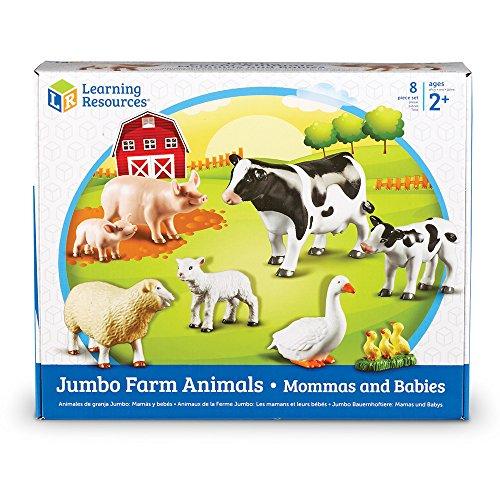 Learning Resources- Animales de la Granja Jumbo, mamás y Sus crías, Color (LER0835)