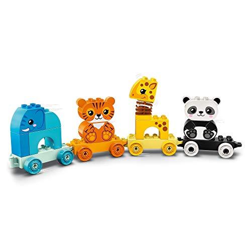 LEGO 10955 DUPLO Tren de los Animales, Juguete de Construcción con Elefante, Tigre, Panda y Jirafa para Niños de +1.5 años