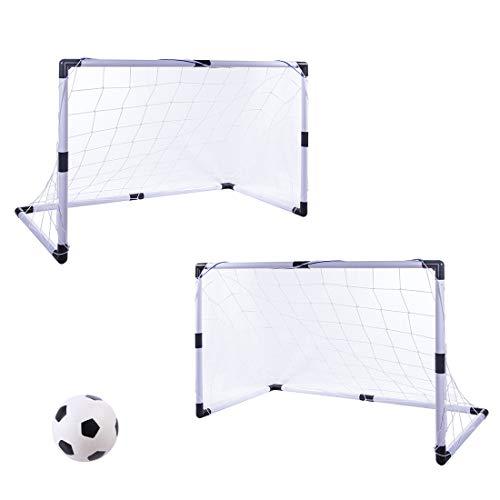 Leic Football Goal Soccer Goal 2 Sets Ball Goal Juegos de fútbol para Interiores y Exteriores Juegos de Juguetes para niños