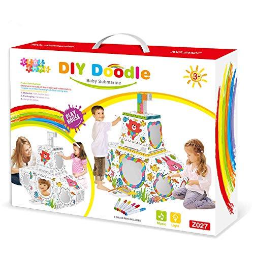 Leo & Emma Doodle Casa de Juguete DIY Dibujar sintética Juego de Manualidades para niños cartón Casa de Juguete malhaus para Pintar y Decorar Incluye lápices (Bota submarina)