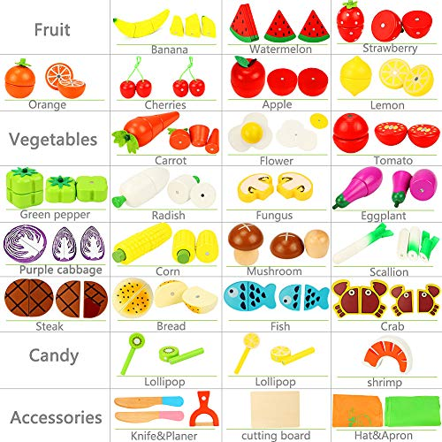 Lewo Frutas de Corte Set de Verduras Magnetic Wooden Food 33 Piezas Juego de imaginación Kitchen Early Educational Toys para niños pequeños Chicas