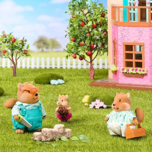Li'l Woodzeez – Familia Ardilla Ardilla – Juego de 5 Piezas de Juguete con Figuras de Animales en Miniatura y Libro de Cuentos – Juguetes de Animales y Accesorios para niños a Partir de 3 años