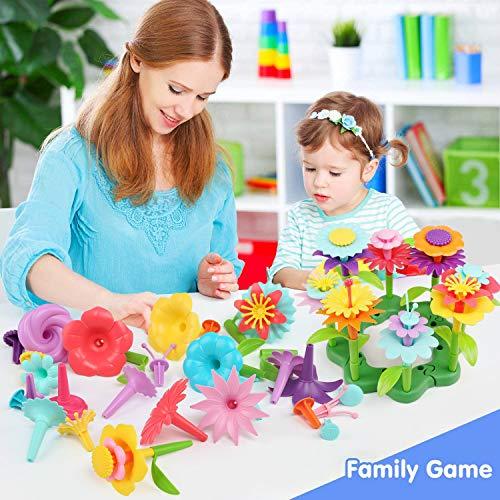 LinStyle Juguetes para niñas de 3 a 6 años, Juego de Juguetes de Construcción de Jardín Flores Juguetes de Construcción de Jardín Bloques Juguete para Niños Pretender Navidad Cumpleaños Regalos