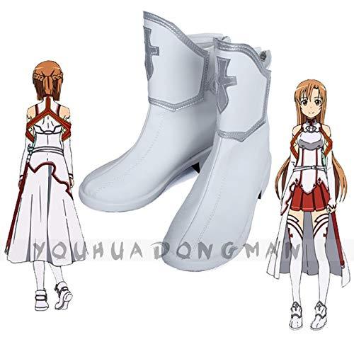 LJYNB Sword Art Online Yuuki Asuna Cosplay zapatos mujer Asuna Yukijuego de roles botas blancas de gran tamaño 40 Yuuki Asuna