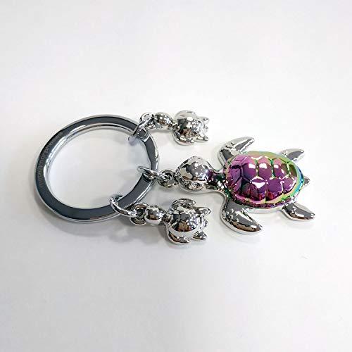 Llavero Premium de Metal Tortuga con caparazón de Colores y Dos Mini tortuguitas. Llavero de Acero Inoxidable y aleación de Zinc