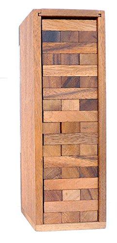 LOGICA GIOCHI Art. Condo – Torre con Piezas de Madera Extraíbles – Piezas de Madera de Teca con su Caja de Madera - Juego de Mesa (Grande)