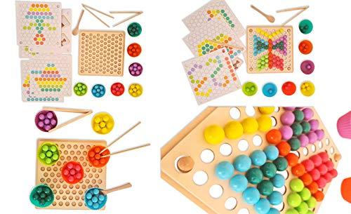 MABY - Juego de Madera Educativo para Niños, Juguete Montessori 3 años, Tablero Montessori, educacion temprana, Rompecabezas, Cuentas Clip