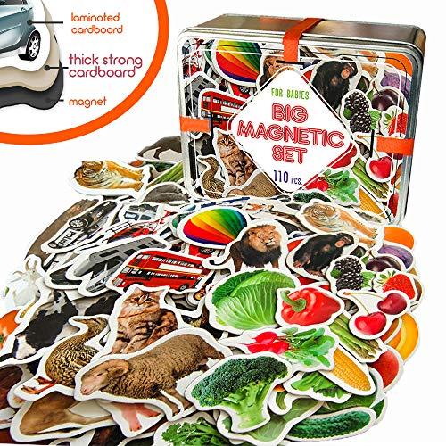 MAGDUM 110 Fotos Set Animales& Frutas& Verduras& Transporte Caja de Lata de Regalo- 110 Imanes Realistas Juguetes de Bebé 3 años- Juegos Educativo Aprender Magnético para niños- Imanes Nevera niños