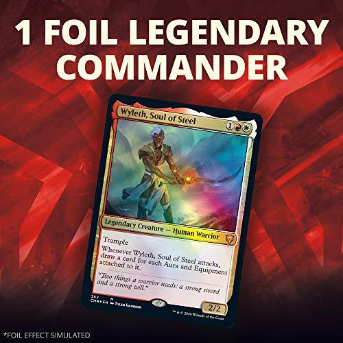 Magic: The Gathering Legends Brazo para Batalla (100 Cartas Listas para Jugar, 1 Comandante de lámina, Rojo-Blanco)