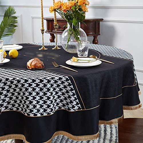Manteles Resistente Ronda Mantel Mantel Mantel decorativo Agua Tabla de tela impermeable y a prueba de aceite desechable Ronda Hogar hotel Mantel Negro y blanco moderno avanzada paño de tabla de la sa