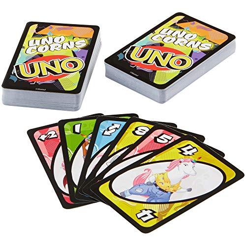 Mattel Games Juego de Cartas de Unicornio FNC46 – UNO (Uni) Corns, Adecuado para 2 – 10 Jugadores, Juegos de Cartas a Partir de 7 años