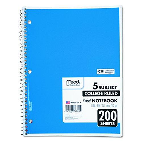 Mead 06780 - Cuaderno con espiral perforado, regla universitaria, 11 x 8, color blanco, 200 hojas