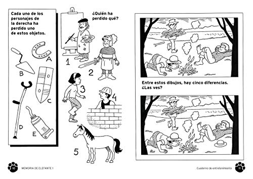 Memoria de elefante: Cuaderno para Primero De Primaria: Juegos para niños de 5 y 6 años: primero de primaria: Cuadernillo de actividades: 1 (cuadernos de actividades)