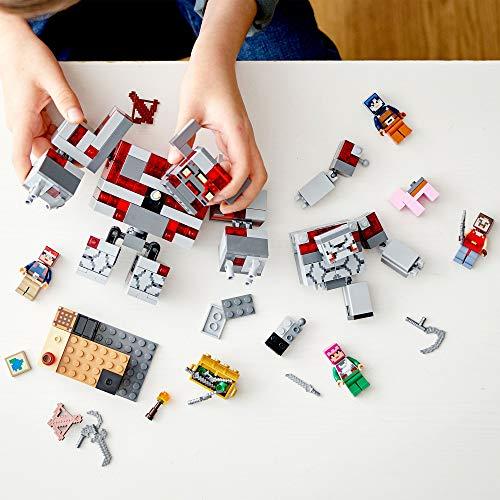 Minecraft Game La Batalla por la Piedra Roja Set de Construcción con Golem y Figuras de Monstruos, Juguete para Niños de 8+ Años de Edad, multicolor (Lego ES 21163)