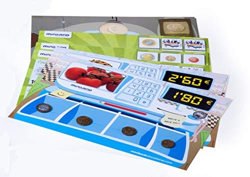 Miniland - Activity Euro, juguete de 18 actividades para el aprendizaje de las monedas y billetes (45308) , color/modelo surtido
