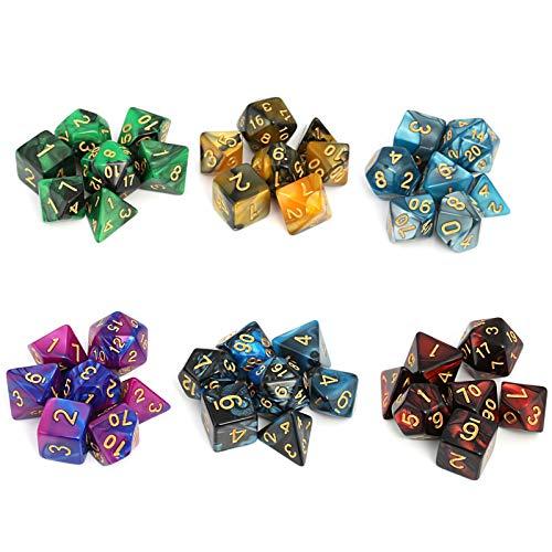 Moncolis Dados Poliedricos 6 x 7 (42 Piezas) Dados de Juego para Dungeons and Dragons DND RPG MTG D20 D12 D10 D8 D6 D4 Juegos de Cartas de Mesa
