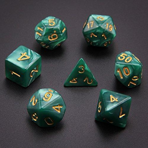 Monuary 49 Piezas Dados de rol D&D, Dado Poliédrico y de rol de Juegos para Dungeons & Dragons con 7 Piezas de Bolsos, 7 Sets de RPG DND MTG D4/D6/D8/D10(0-9 y 00-90)/D12/D20