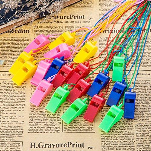 Mudder 40 Piezas Silbatos de Plástico con Cordón para Fiesta Deportes, 5 Colores