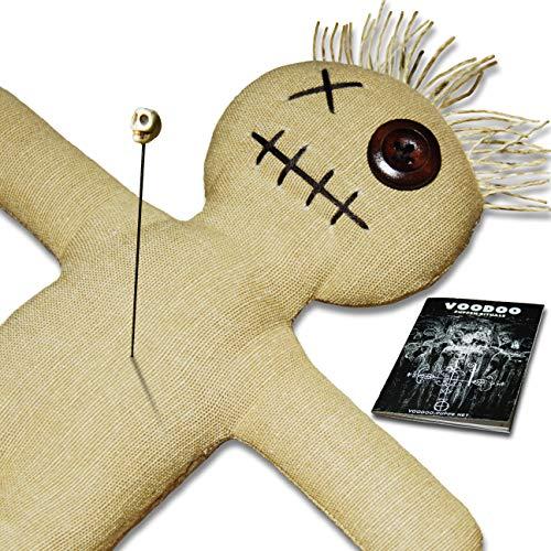 Muñeco de vudú con aguja de vudú e instrucciones de ritual (idioma español no garantizado)