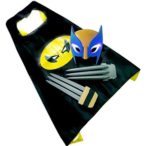 MXGP Garras de Wolverine, máscara Brillante, Manto Traje de Wolverine de Tres Piezas Juguetes para niños Accesorios de Mascarada Juego de rol X-Men Logan Regalo para niños