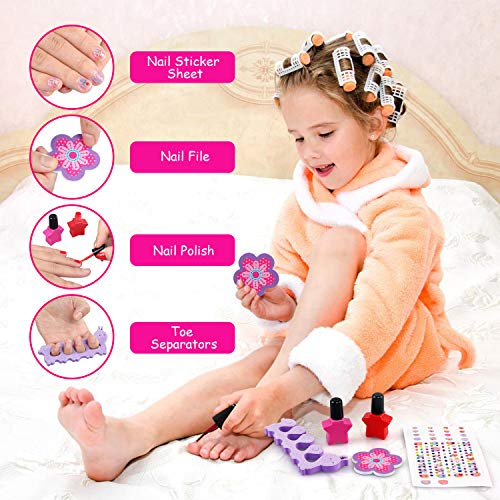 NEWSTYLE Maquillaje Niñas Set,25 PCS Juego de Maquillaje para niños,Cosméticos Lavables, Regalo de Princesa para Niñas en Fiesta,Cumpleaños,Navidad