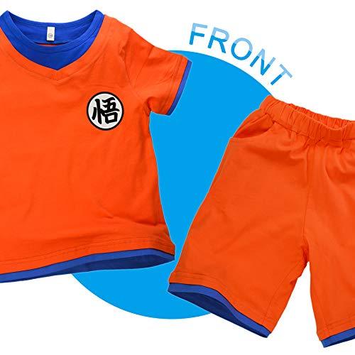 Niños Disfraz Camiseta T-Shirt Shorts para Son Goku Traje de Entrenamiento Ropa Sudadera (150 (11-12 años))