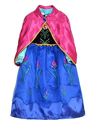 O.AMBW Princesa Anna Vestido Largo con Capa Rosa Roja para Niñas Cosplay Princesa con Accesorios Festival Disfraz Reina Anna Hermana Reina Elsa Carnaval Halloween Juego de Roles Acto Teatrales