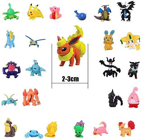 OMZGXGOD - 48 Piezas Pikachu Monstruo Mini Figuras + 16 Pulseras de Silicona