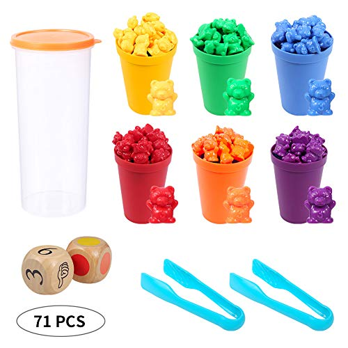 Opopark Juego para Contar 71 Piezas Contar con los Osos de Colores Coordinados,Osos de Colores Coordinados con Vasos Apilables Apilables Infantil Juguetes Montessori para Niños Pequeños