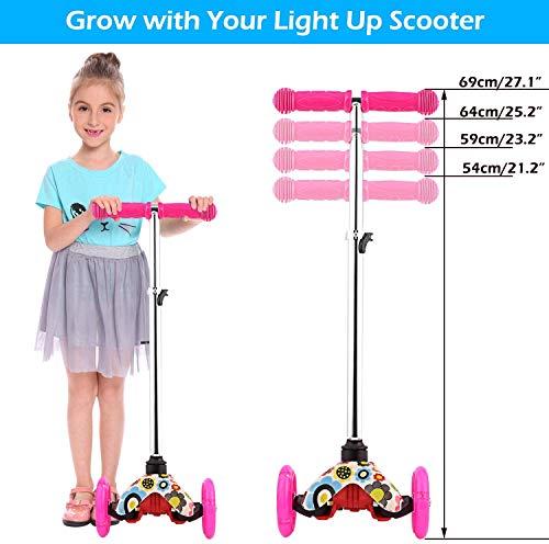 OUTCAMER Patinete para Niños de 3 Ruedas Patinete para Niños Pequeños con luz LED Patinete Ajustable en Altura para Niños de 2 a 9 años