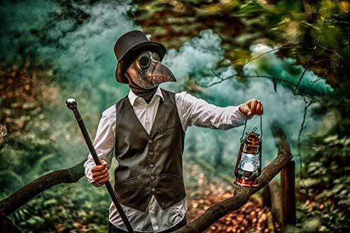 Pájaros Plague Doctor Nariz de Cosplay Fancy diseño gótico Steampunk Retro Máscara de Rock (Negro)