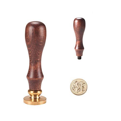 PandaHall Elite - Cuño de lacre con mango de madera y sellos de latón con las letras del alfabeto,25 x 14 mm, 75 mm, Letra-r, 25x14mmx75mm