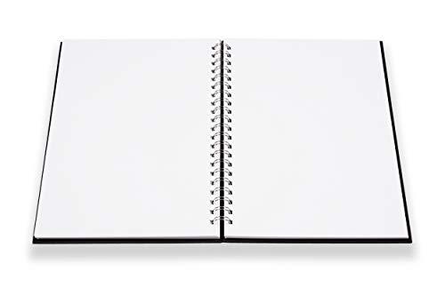perfect ideaz Cuaderno de bocetos DIN A4, 96 páginas (48 hojas), dibujo profesional, tapa dura negra, encuadernado anillas en espiral con papel en blanco, 200 g, cuaderno negro en blanco para dibujar