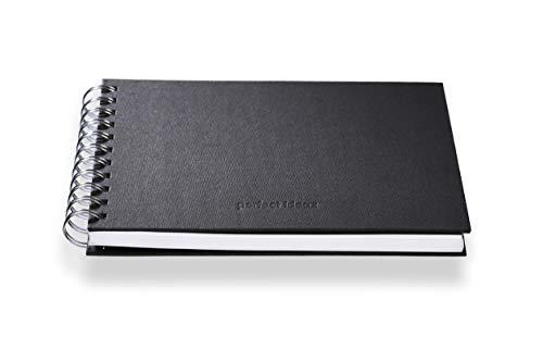 perfect ideaz Cuaderno de bocetos DIN-A5, 96 páginas (48 Hojas), Dibujo Profesional, Tapa Dura Negra, Encuadernado Anillas en Espiral con Papel en Blanco, 200 g, Cuaderno Negro en Blanco para Dibujar