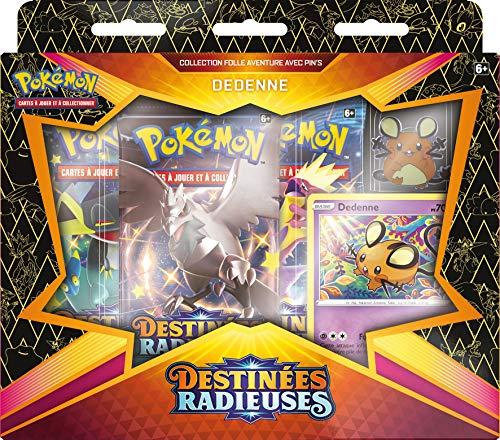 Pokemon EB04.5 - Estuche Pins Dedene/M. Glaqueta de Galar Destinados Radioses-Juego de Cartas coleccionables (Modelo Aleatorio), POK45PIN01