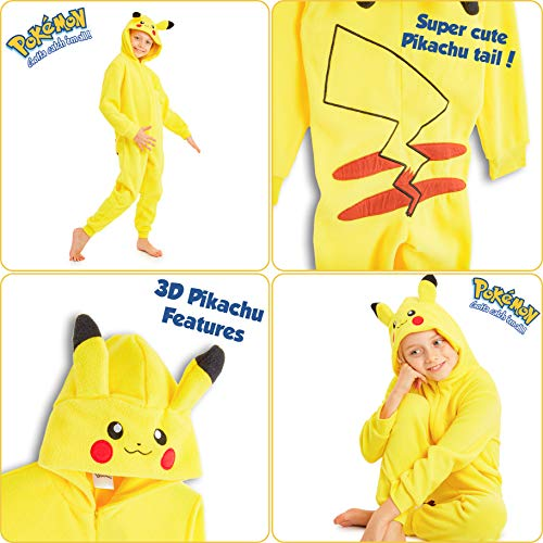 Pokèmon Pikachu Pijama Entero para Niños Niñas De Una Pieza, Cosplay, Pijama Animal Disfraz Go Capucha,Ropa de Dormir Invierno, Regalos para Chicos Chicas 4-14 Años (13-14 años)