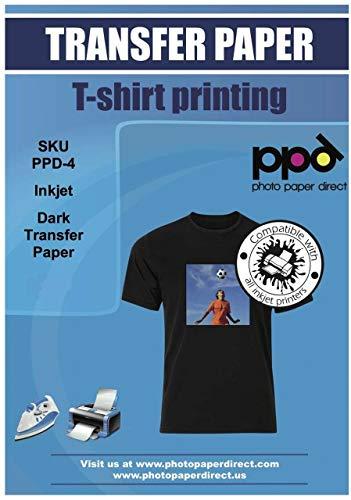 PPD A4 x 10 Hojas de Papel de Transferencia Térmica Para Camisetas, Mascarillas y Tejidos Oscuros - Para Impresora de Inyección de Tinta Inkjet - PPD-4-10