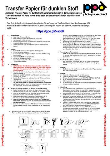 PPD A4 x 5 Hojas de Papel de Transferencia Térmica Para Camisetas, Mascarillas y Tejidos Oscuros - Para Impresora de Inyección de Tinta Inkjet - PPD-4-5