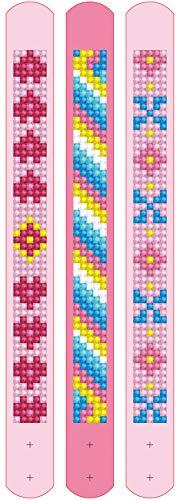 Pracht Creatives Hobby Diamond Dotzies-Juego de 3 pulseras brillantes, longitud ajustable, color rosa