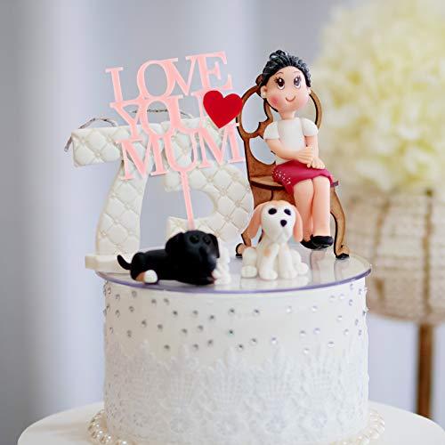 PRETYZOOM 4Pcs Día de La Madre Cupcake Toppers Love You Dad Love You Mum Cake Topper Picks Mujeres Hombres Día del Padre Fiesta Decoraciones para Pasteles Suministros